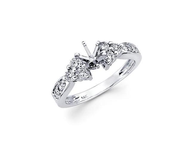 0.45ct Diamond 14k White Gold Engagement Semi Mount Ring Setting (G-H Color, SI1 Clarity)