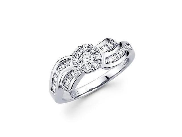 14k White Gold Flower Round Baguette Diamond Ring .64ct (G Color, SI1 Clarity)