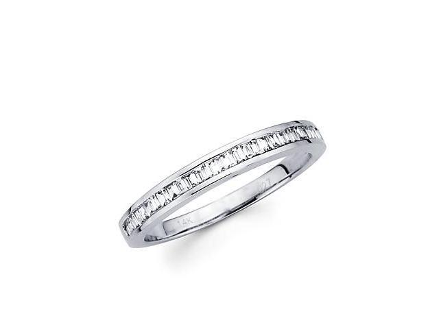 14k White Gold Baguette Diamond Channel Set Wedding Ring Band .27ct (G-H Color, SI1 Clarity)