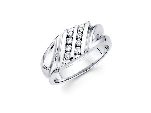 14k White Gold Mens Two Row Round Diamond Ring 1/3 ct (G-H Color, SI2 Clarity)