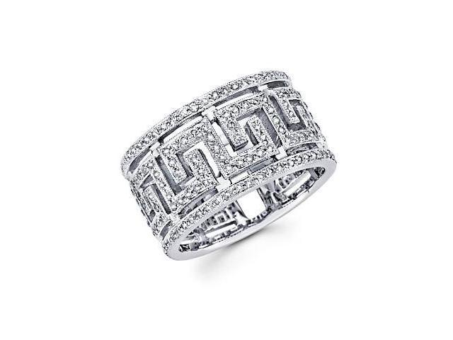 14k White Gold Diamond Anniversary Greek Ring Band .57 ct (G-H Color, SI2 Clarity)