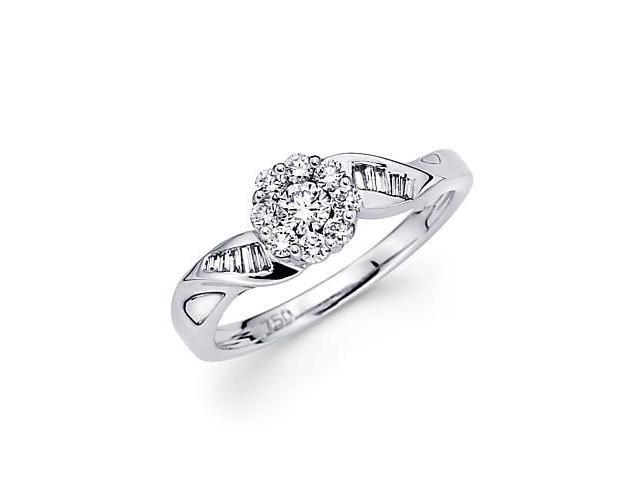 14k White Gold Flower Round Baguette Diamond Ring .38ct (G Color, SI1 Clarity)