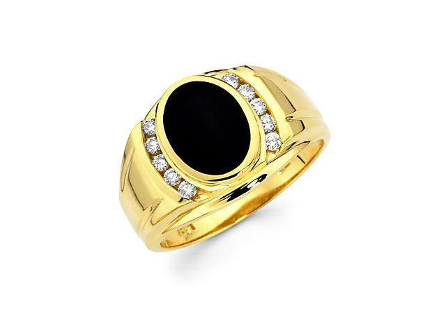 14k Yellow Gold Mens Diamond Oval Onyx Ring Band .27 ct (G-H Color, SI2 Clarity)