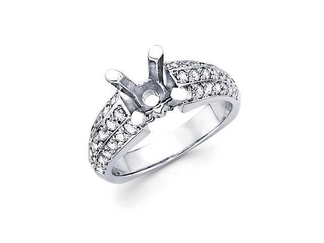 .69ct Diamond (G-H, SI2) 14k White Gold Engagement Semi Mount Ring Setting - Fits Round 2 Ct Center