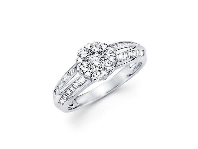 14k White Gold Flower Round Baguette Diamond Ring3/4ct (G Color, SI1 Clarity)