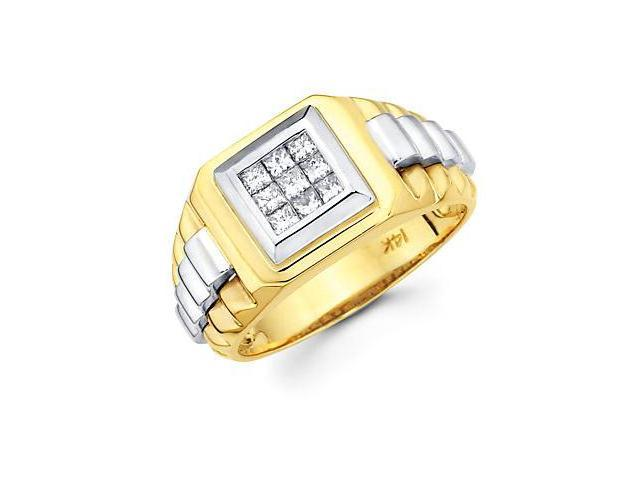 Princess Cut Channel Set 14k Two Tone Gold Mens Watch Diamond Ring Band .44ct (G-H, SI1)