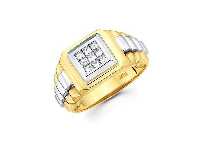 Princess Cut Channel Set 14k Two Tone Gold Mens Watch Diamond Ring Band .44ct (G-H, SI1)