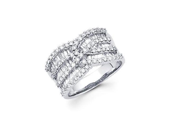 14k White Gold Large Cross Over Diamond Channel Set Ring 1.54 ct (G-H Color, SI2 Clarity)