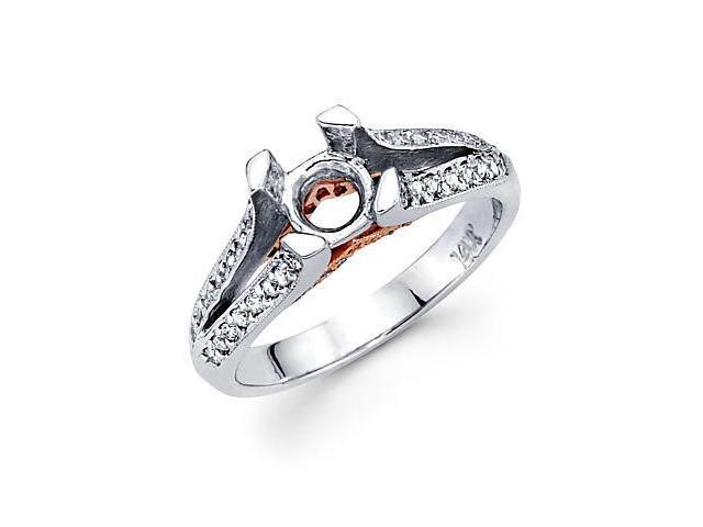 .29ct Diamond (G-H, SI2) 14k White Gold Engagement Semi Mount Ring Setting - Fits Round 3/4ct Center