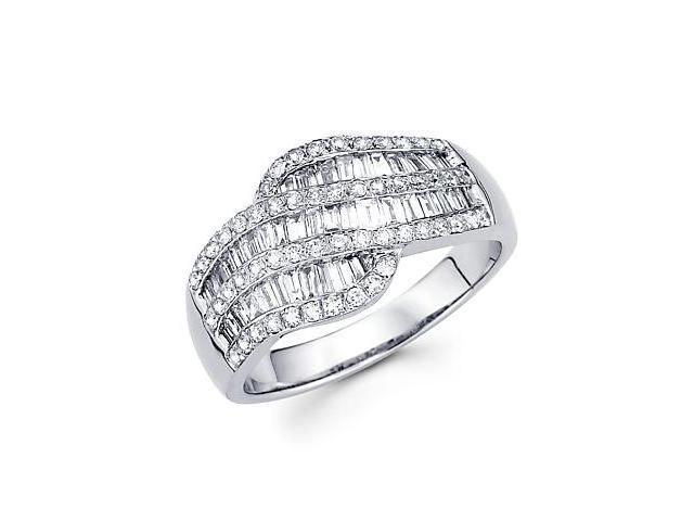 14k White Gold Diamond Channel Set Round Baguette Ring 1.12 ct (G-H Color, SI2 Clarity)