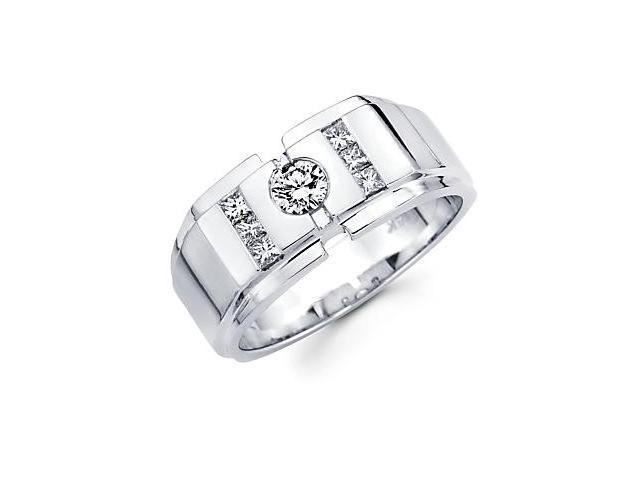 14k White Gold Mens Large Diamond Wedding Ring .64 ct (G-H Color, SI2 Clarity)