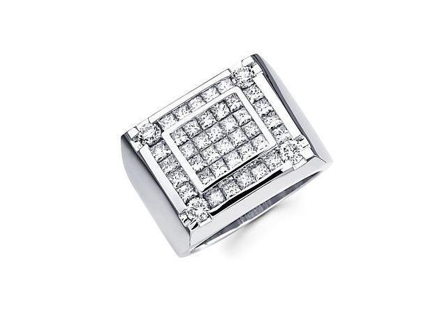 14k White Gold Mens Huge Diamond Square Ring 2.92 ct (G-H Color, SI2 Clarity)