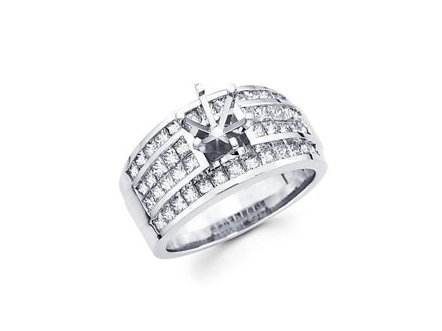 2.3ct Large 14k White Gold Channel Set Princess Cut Diamond Engagement Semi Mount Ring Setting