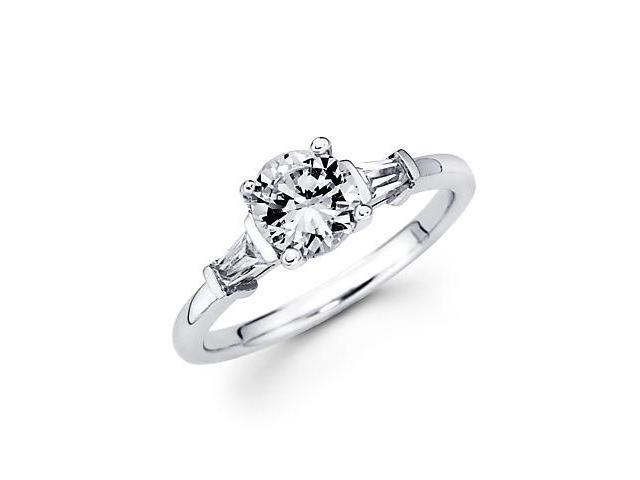 14k White Gold Baguette .30ct Diamond Three Stone Semi Mount Ring - 1.5ct Center Stone Not Included
