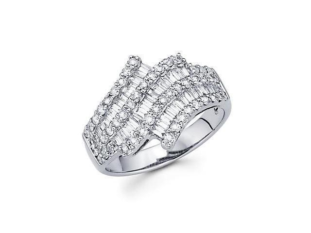 14k White Gold Diamond Channel Set Large Baguette Ring 1.37 ct (G-H Color, SI2 Clarity)