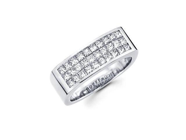 Princess Cut Channel Set 14k White Gold Mens Diamond Wedding Ring Band 1.70 ct (G-H, SI1)