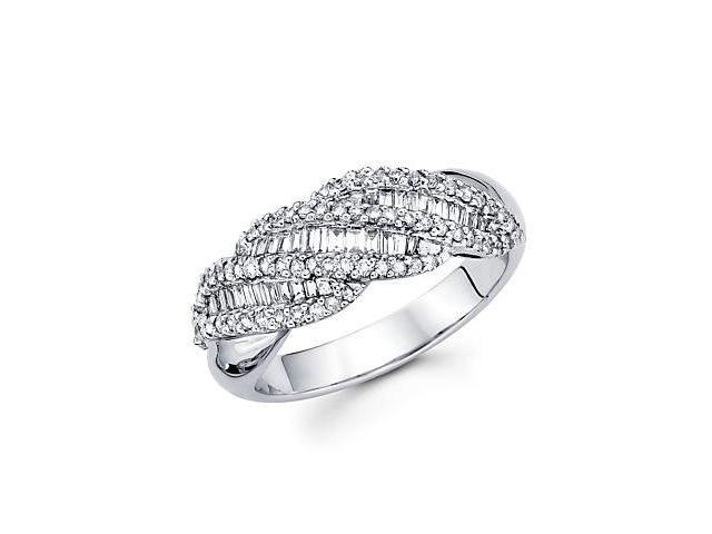 14k White Gold Diamond Channel Set Dome Baguette Ring Band .67 ct (G-H Color, SI2 Clarity)