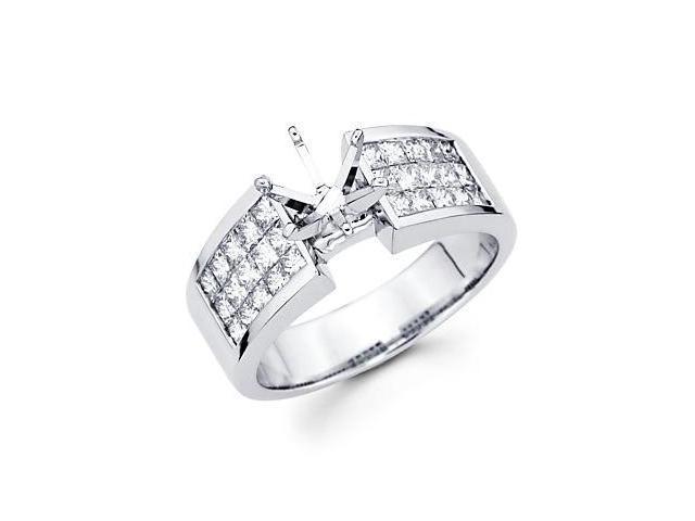 1.12ct Diamond (G-H, SI1) 14k White Gold Channel Set Princess Cut Engagement Semi Mount Ring Setting