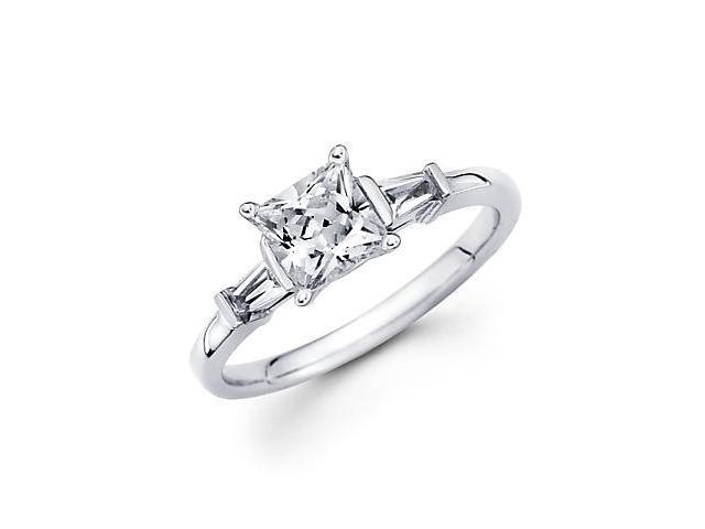 14k White Gold Baguette 3 Three Stone Semi Mount Ring (G-H, SI1) - Center 3/4ct Diamond Not Included