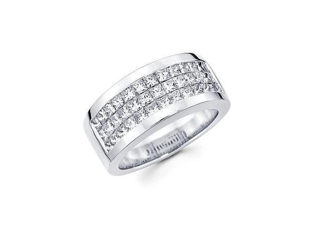 Princess Cut Channel Set 14k White Gold Mens Diamond Wedding Ring Band 2.85 ct (G-H, SI1)