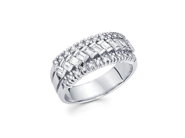 14k White Gold Diamond Channel Set Anniversary Wedding Ring Band 2/3 ct (G-H Color, SI2 Clarity)