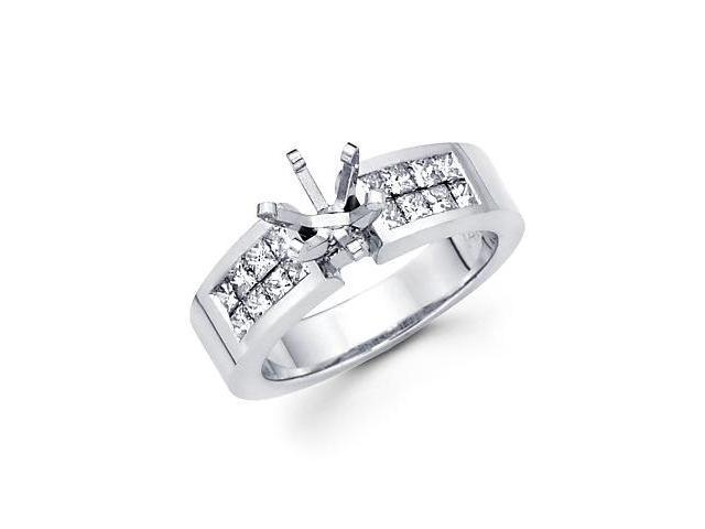 0.71ct Diamond (G-H, SI1) 14k White Gold Channel Set Princess Cut Engagement Semi Mount Ring Setting