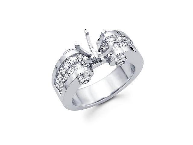 1.57ct Diamond (G-H, SI2) 14k White Gold Channel Set Princess Cut Engagement Semi Mount Ring Setting