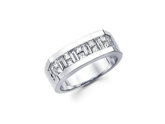 14k White Gold Mens Diamond Wedding Ring Band 1.90 ct (G-H Color, SI1 Clarity)