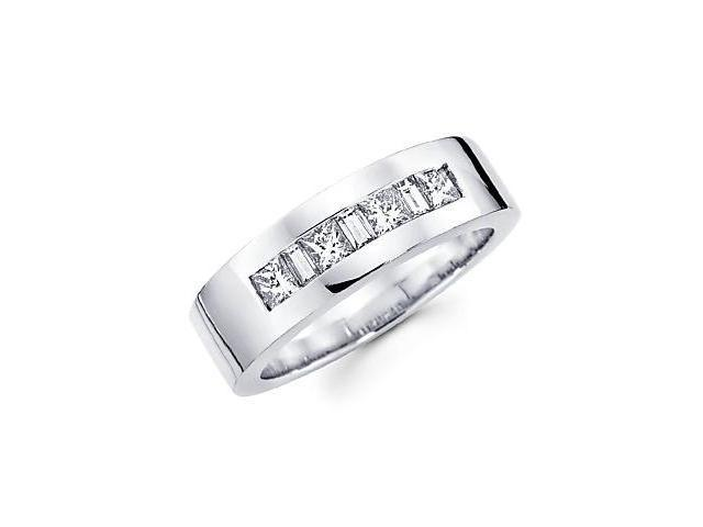 14k White Gold Mens Diamond Wedding Ring Band .92 ct (G-H Color, SI1 Clarity)