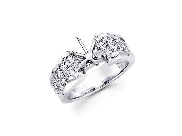 2.12ct Diamond (G-H, SI1) 14k White Gold Channel Set Princess Cut Engagement Semi Mount Ring Setting