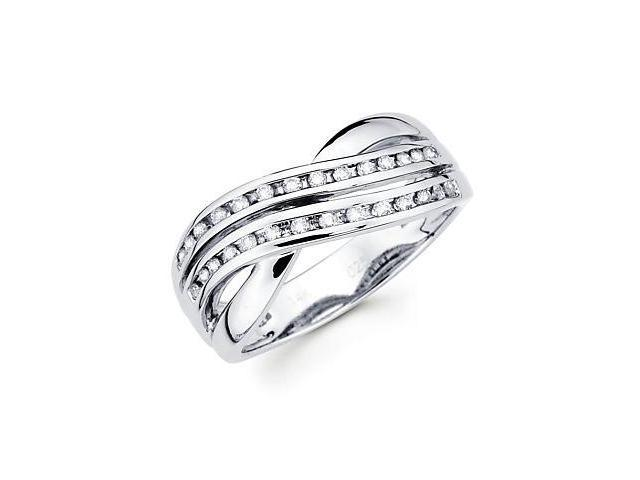 14k White Gold Round Diamond Cross Over Ring Band1/4ct (G-H Color, SI2 Clarity)