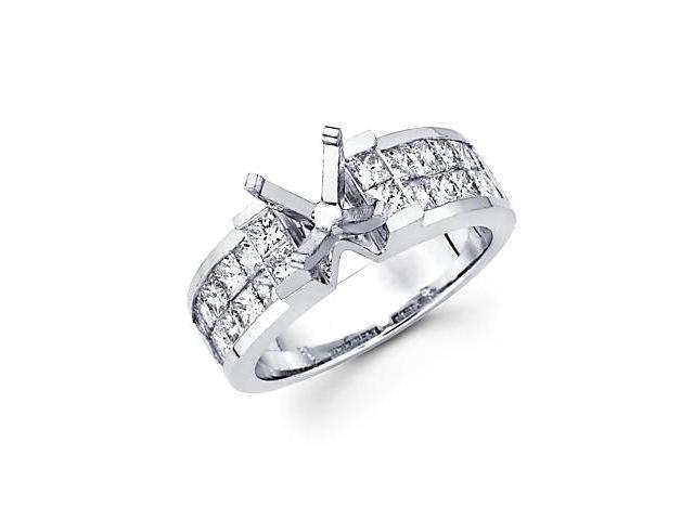 1.71ct Diamond (G-H, SI1) 14k White Gold Channel Set Princess Cut Engagement Semi Mount Ring Setting