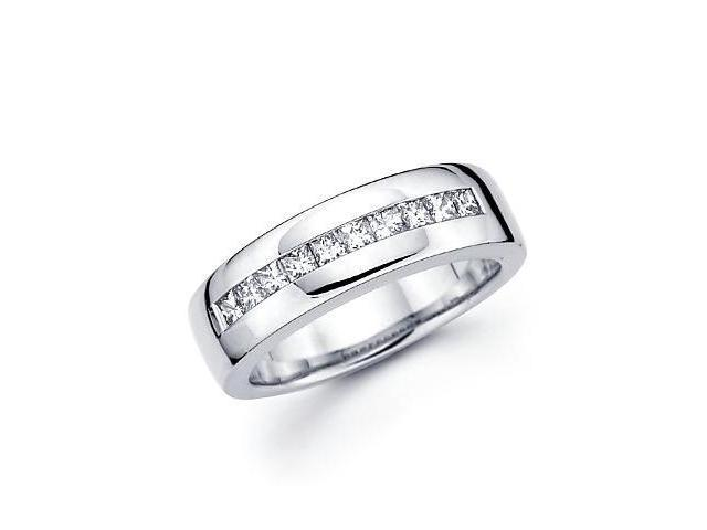 Princess Cut Channel Set 14k White Gold Mens Diamond Wedding Ring Band .75 ct (G-H, SI1)