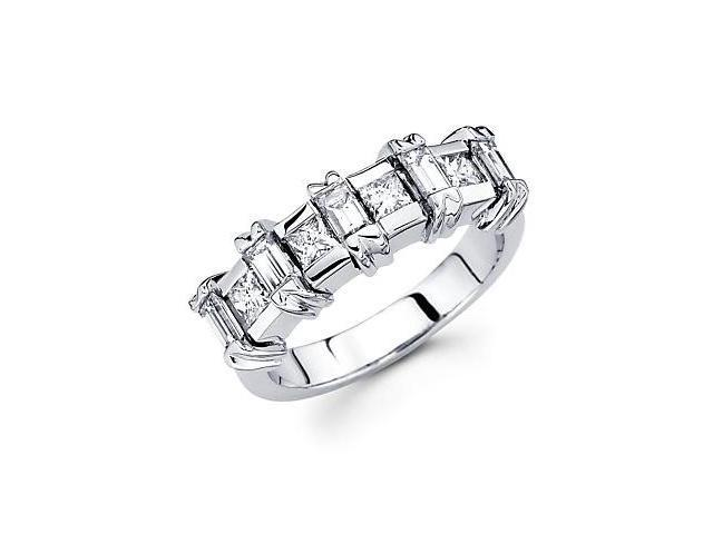 14k White Gold Baguette & Princess Diamond Ring Band 1.11ct (G-H Color, SI1 Clarity)