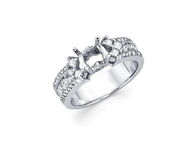 1.1ct Diamond 14k White Gold Princess Engagement Ring Setting - Fits Princess 1.00 Ct Center Stone