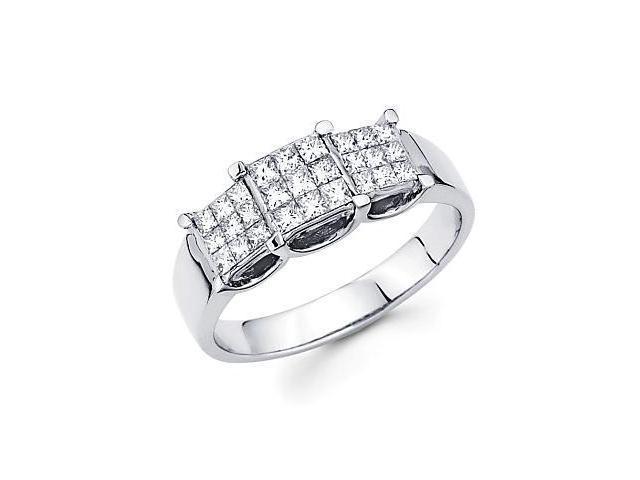 14k White Gold Three 3 Princess Cut Diamond Ring .61ct (G-H Color, SI1 Clarity)