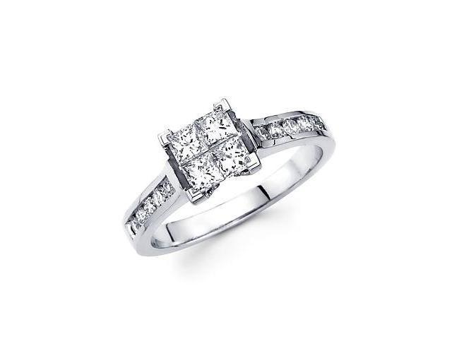 14k White Gold 4 Four Princess Cut Diamond Channel Set Engagement Ring Band .87 ct (G-H, SI2)
