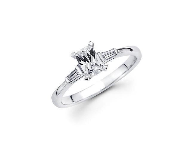14k White Gold Three Diamond Baguette Semi Mount Ring (G-H, SI1) - 1.50ct Center Stone Not Included