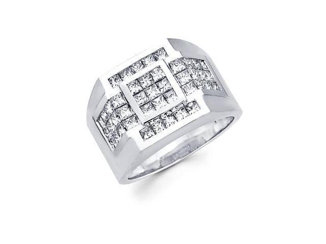 Princess Cut Channel Set 14k White Gold Mens Huge Diamond Square Ring 2.84 ct (G-H, SI1)