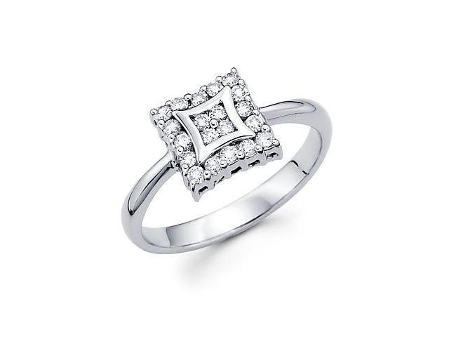 14k White Gold Square Fashion Diamond Ring Band .31 ct (G-H Color, SI2 Clarity)