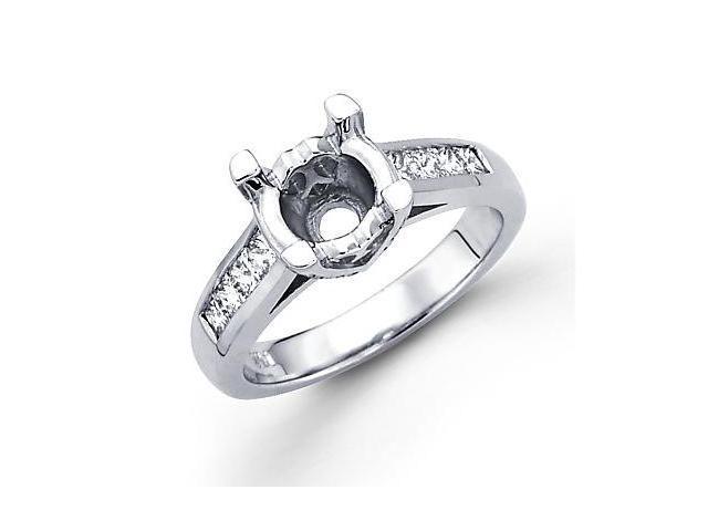 0.79ct Diamond 14k White Gold Engagement Semi Mount Ring Setting - Fits Round 1.50 Ct Center Stone
