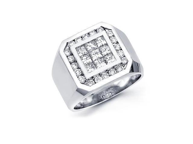 14k White Gold Mens Large Diamond Square Ring 1.94 ct (G-H Color, SI2 Clarity)