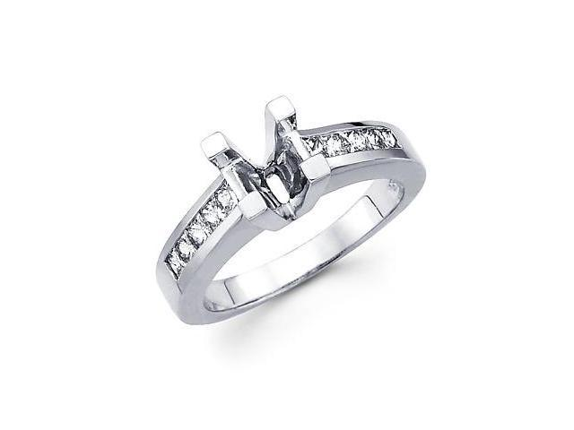 0.62ct Diamond 14k White Gold Engagement Semi Mount Ring Setting - Fits Round 1.00 Ct Center Stone