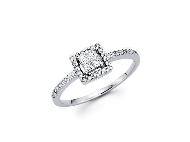 14k White Gold Princess Four Diamond Ring Band .30 ct (G-H Color, SI2 Clarity)