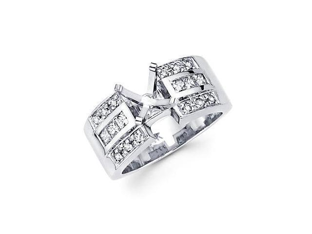 0.55ct Diamond 14k White Gold Channel Set Big Princess Cut Engagement Semi Mount Ring Setting