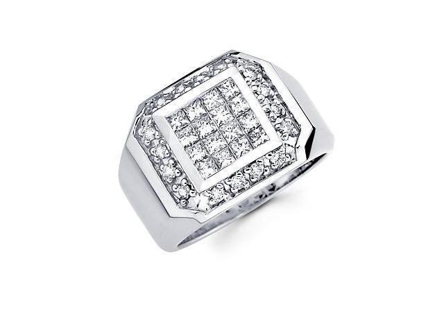 14k White Gold Mens Princess Cut Diamond Ring 1.45 ct (G-H Color, SI2 Clarity)