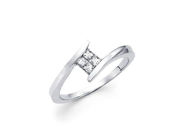 14k White Gold Princess Four Diamond Ring Band 1/5 ct (G-H Color, SI1 Clarity)