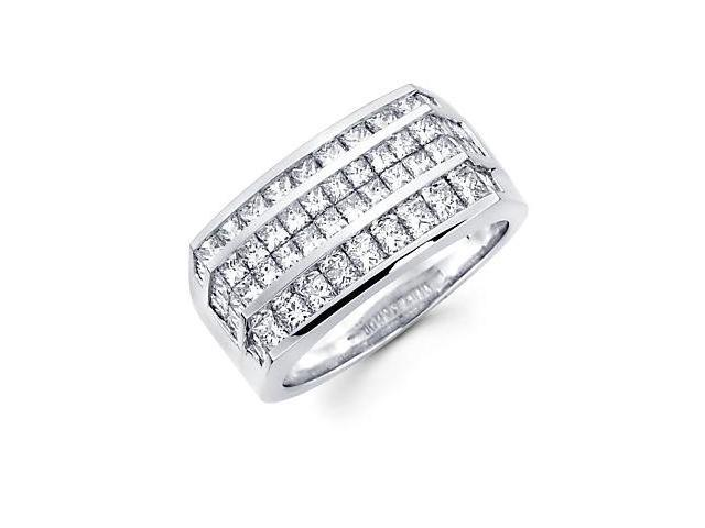 14k White Gold Mens Large Huge Diamond Ring Band 3.30ct (G-H Color, SI1 Clarity)