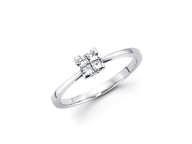 14k White Gold Princess Four Diamond Ring Band .18 ct (G-H Color, SI1 Clarity)
