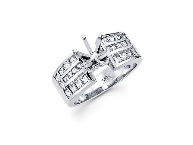 1.1ct Diamond 14k White Gold Channel Set Princess Cut Engagement Semi Mount Ring Setting (G-H, SI1)